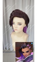 Overwatch Sombra Red Brown Top Rose Dragee Down 40cm Cosplay Party Wig