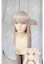 Urara Meirocho Chiya Beige Cameo 100cm Straight Cat Ears Cosplay Party Wig