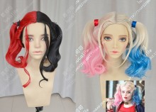 Suicide Squad Harley Quinn N52 Half Pink Half Blue Ponytails Style Cosplay Party Wig