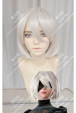 NieR:Automata YoRHa No.2 Model B 2B Pearl White Short Cosplay Party Wig