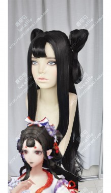 Onmyoji Bird-and-flower Black 80cm Straight With 8 Style Chignon Cosplay Party Wig