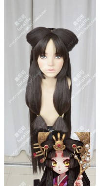 Onmyoji Kaguyahime Dark Burnt Umber Bowknot Style Cosplay Party Wig