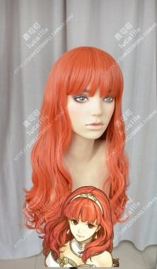 Fire Emblem Echoes: Shadows of Valentia Celica Tomato Red 60cm Curly Cosplay Party Wig