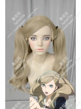Persona5 PANTHER Takamaki Ann Light Cream 2 Ponytails Cosplay Party Wig
