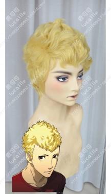 Persona5 SKULL Sakamoto Ryuuji Naples Yellow Cosplay Party Wig