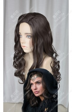 Wonder Woman Princess Diana/Diana Prince Black Mix Brown 70cm Curly Cosplay Party WIg