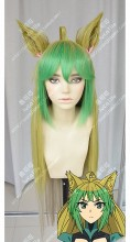 Fate/Apocrypha Archer of Red Atalanta Parrot Green Bang Antique Gold Gradient Cream 100cm Straight Cat Ears Cosplay Party Wig