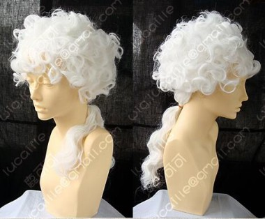 ZYR British Style Judge Or lawyer White Curly Short Cosplay Party Wig