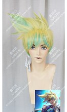 League of Legends Ezreal Star Guardian Skin Green Mix Golden Short Cosplay Party Wig