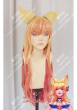 League of Legends Ahri Star Guardian Skin Golden Mix Pink Gradient Ruby Red 80cm Curly Cosplay Party Wig