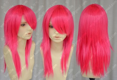 AYAMO Fashion Red Mix Pink Color 50cm Straight Party Cosplay Wig