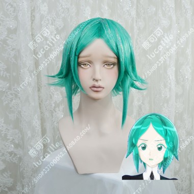 Land of the Lustrous Phosphophyllite Cobalt Green Short Cosplay Party Wig