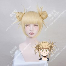My Hero Academia Himiko Toga Light Golden Bun Style Cosplay Party Wig