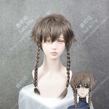 Steins;Gate 0 Suzuha Amane Light Taupe Short with Braid Extend Cosplay Party Wig