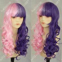 Ayamo Style Tokyo Fashion Half Pink Half Purple 70cm Curly Cosplay Party Wig
