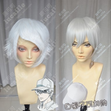Hataraku Saibou White Blood Cell White or Silver White Short Cosplay Party Wig