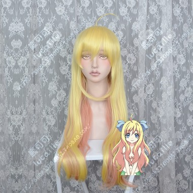 Dropkick on My Devil! Jashin-chan Golay Golden Cover Orange Brown 80cm Curly Cosplay Party Wig