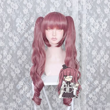 Dropkick on My Devil! Yurine Hanazono Raisin Mix Claret Ponytail Cosplay Party Wig