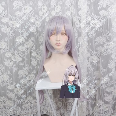 Iroduku: The World in Colors Hitomi Tsukishiro LightGrey Mix Lavender 80cm Stay Hair Style Cosplay Party Wig