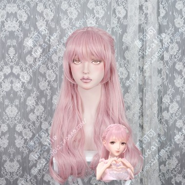 Shining Nikki Infinite Girl Flamingo Pink Mix Rose Tendre Curly 80cm Cosplay Party Wig
