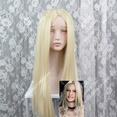 Devil May Cry 5 Trish 60cm Milky Golden Center Parting Straight Cosplay Party Wig