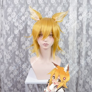 Sewayaki Kitsune no Senko-san Senko Pumpkin Cosplay Party Wig With Ears
