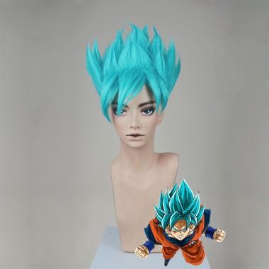 Dragon Ball Super Son Goku Super Saiyan Blue Wax Style Cosplay Party Wig