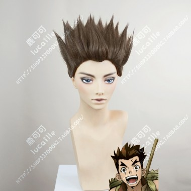 Dr.Stone Taiju Oki Brown Full Back Style Short Cosplay Party Wig