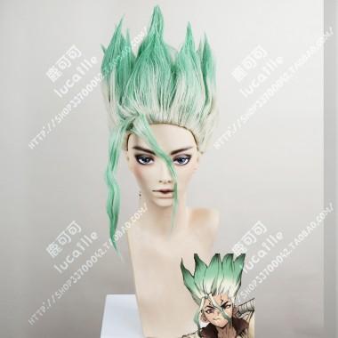 Dr.Stone Senku Ishigami Top Ice Green Bottom White Full Back Wax Style Short Cosplay Party Wig
