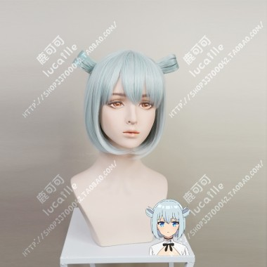 Assassins Pride Angel Elise Baby Blue Short Cosplay Party Wig w/Ring Style accessories