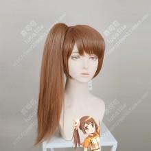 Magia Record: Mahou Shoujo Madoka☆Magica Yui Tsuruno Brown Short Ponytail Cosplay Party Wig