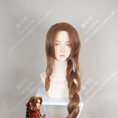 Final Fantasy VII Aerith Brown 100cm Ponytail Style Cosplay Party Wig