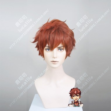 Jibaku Shounen Hanako-kun Natsuhiko Hyuuga Red Mix Brown Short Cosplay Party Wig