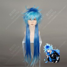 Twisted Wonderland Idia Shroud Up fluffy  Down Straight Frosty Blue Mix Sapphire Blue Cosplay Party Wig