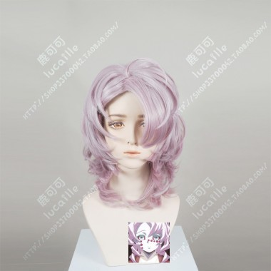 Demon Slayer: Kimetsu no Yaiba Rui Pink Mix Purple Short Curly Cosplay Party Wig