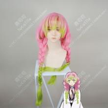 Demon Slayer: Kimetsu no Yaiba Kanroji Mitsuri Pink Gradient Green Ponytail Style Cosplay Party Wig