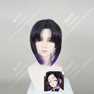 Demon Slayer: Kimetsu no Yaiba Kochou Shinobu Center Parting Short wig + extend Hair Style Cosplay Party Wig