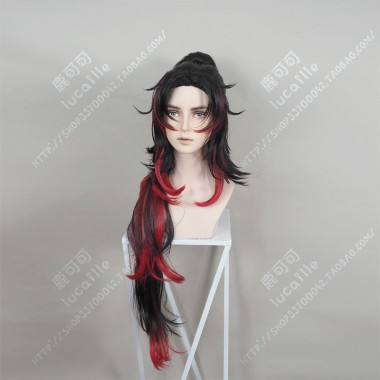 Demon Slayer: Kimetsu no Yaiba Kokushibo Center Parting Black Gradient Red Short with Ponytail Cosplay Party Wig