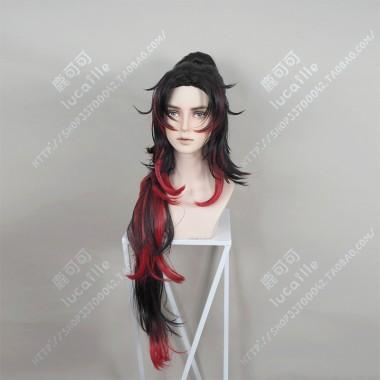 Demon Slayer: Kimetsu no Yaiba Kokushibo Center Parting Black Gradient Red Short with Ponytail Cosplay Party Wig