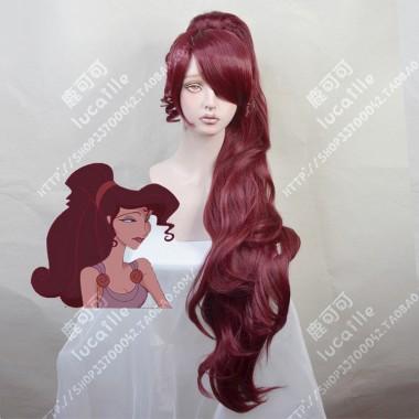 Disney Hercules Princess Megara Wine Red Ponytail Style Cosplay Party Wig