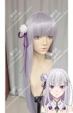 Re:Zero Emilia 120cm Sliver Mix Purple Straight Cosplay Party Wig